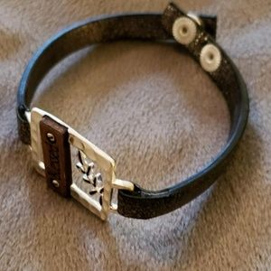 Jewelry - Brown leather and silver bracelet
